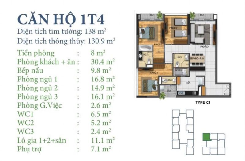 Bán căn hộ chung cư liền kề Starlake Tây Hồ 130.9m2 (3PN-2VS) căn góc tiện ích 5* giá nét