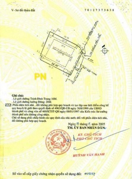 MTKD Trịnh Đình Trọng, 50tr/m2, dt 1812m2, giá 91 tỷ