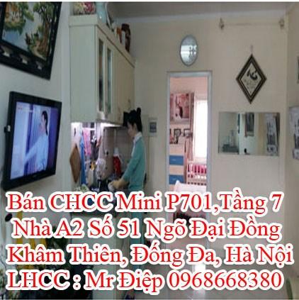 Bán CHCC Mini P701,Tầng 7, Nhà A2 Số 51 Ngõ Đại Đồng, Khâm Thiên, Đống Đa, Hà Nội