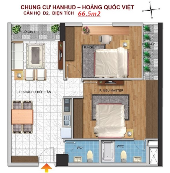 Bán căn hộ Hanhud, ngõ 234 Hoàng Quốc Việt, diện tích 66m2, giá 25.5 triệu/m2, tầng 15.