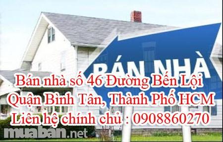 Bán nhà số 46 Đường Bến Lội, Quận Bình Tân, Thành Phố HCM