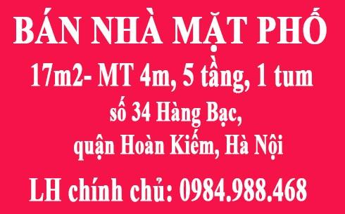 Bán nhà mặt phố số 34 Hàng Bạc, quận Hoàn Kiếm, Hà Nội