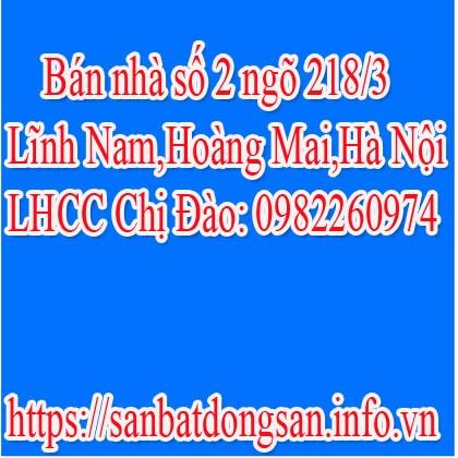 Bán nhà số 2 ngõ 218/3 Lĩnh Nam,Hoàng Mai,Hà Nội