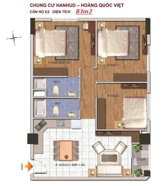 Bán căn hộ ngõ 234 Hoàng Quốc Việt, diện tích 83m2, tầng 11, gồm 3 ngủ, giá 26,5tr/m2, căn góc.