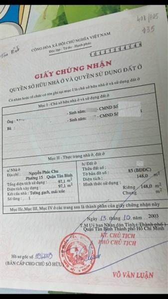 Bán Nhà Mặt tiền đường Nguyễn Phúc Chu, P.15, Q.Tân Bình. DT: 5mx20m.