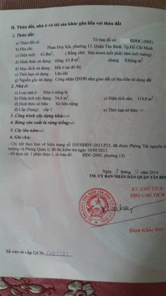 Bán nhà hẻm XH đường Phan Huy Ích, P.15, Q.Tân Bình.DT: 4mx17.5m.
