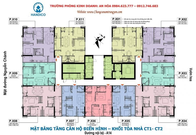 0984 874 975, bán lỗ CC A10 Nam Trung Yên Căn CT2-1508 (100,9m2), căn CT2-1807 (60,5m2), giá 26tr/m2