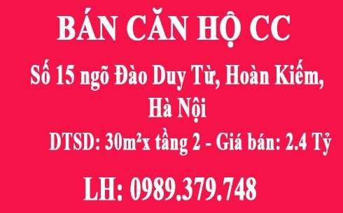 Bán CHCC tầng 2, P10, số 15 ngõ Đào Duy Từ, Hoàn Kiếm, Hà Nội