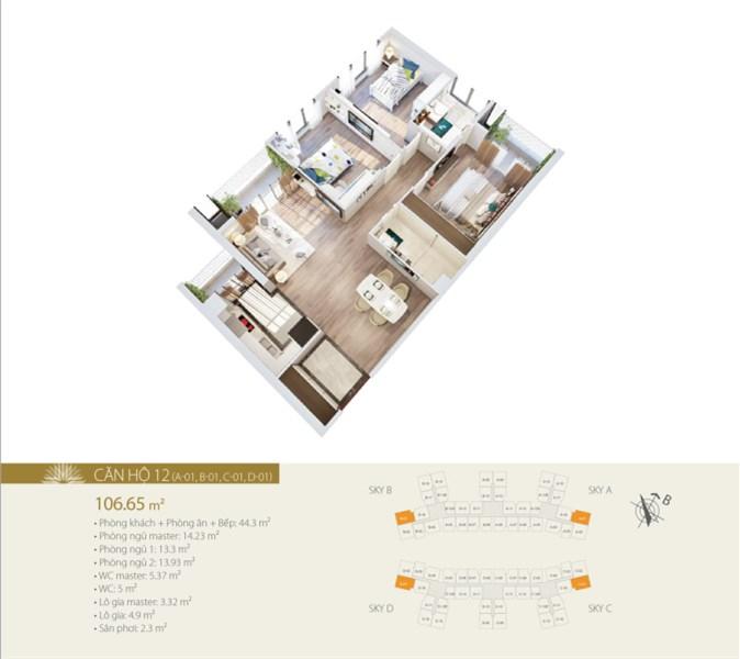 Bán căn góc 3 phòng ngủ tầng trung, hướng ĐN – ĐB tại 423 Minh Khai, Hai Bà Trưng, Hà Nội
