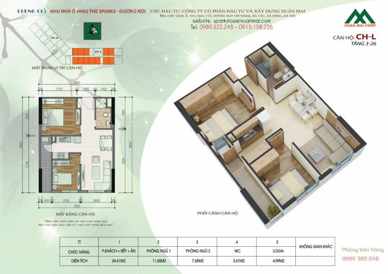 Mình chuyển nhà bán gấp căn hộ 54m2, giá 1.08 tỷ tại HH2 tòa L Xuân Mai Complex, Dương Nội