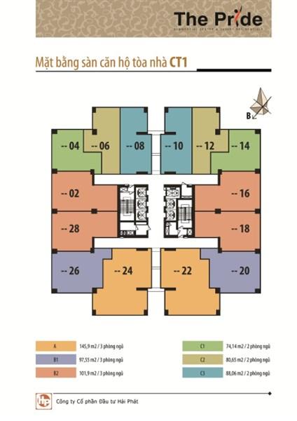 Bán căn hộ 81m2 tại CT2 The Pride Hải Phát. Giá chỉ 1.6 tỷ