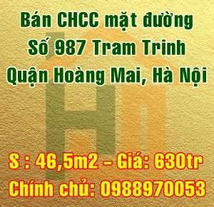 Bán chung cư mặt đường 987 Tam Trinh, Quận Hoàng Mai