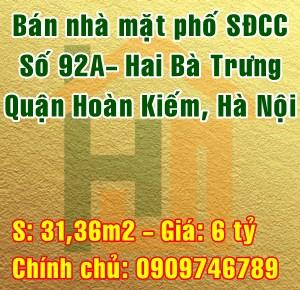 Bán nhà mặt phố Quận Hoàn Kiếm, Số 92A Phố Hai Bà Trưng