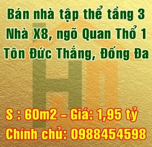 Bán căn hộ tầng 3 - nhà X81, ngõ Quan Thổ 1, Tôn Đức Thắng, Đống Đa