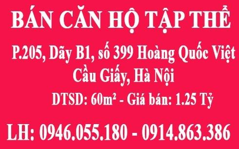 Bán CHTT tầng 2, P.205, Dãy B1, số 399 Hoàng Quốc Việt, Cầu Giấy, HN