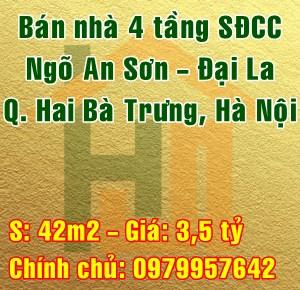 Chính chủ bán nhà Quận Hai Bà Trưng, ngõ An Sơn, Phố Đại La