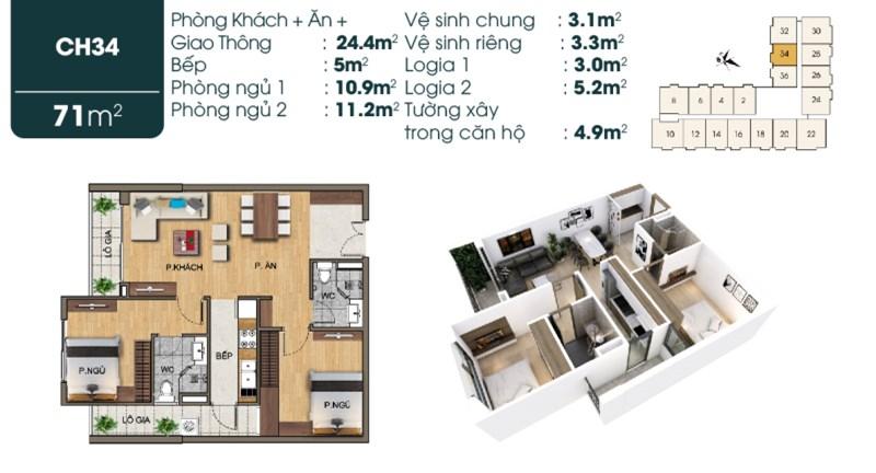 Bán đồng giá các tầng căn 71m2 2 phòng ngủ 1,8 tỉ tại 190 Sài Đồng