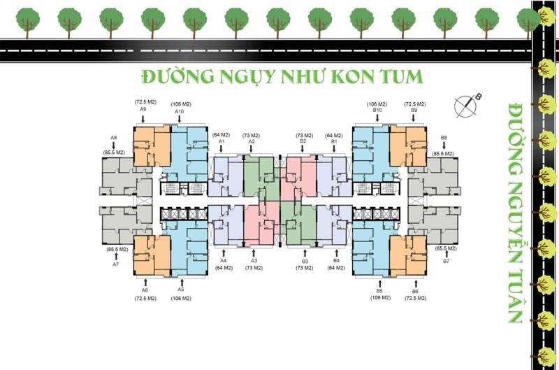 Bán căn hộ 106m2 hướng ĐN 3 đã bàn giao tại ngã tư Nguyễn Tuân – Ngụy Như Kom Tum