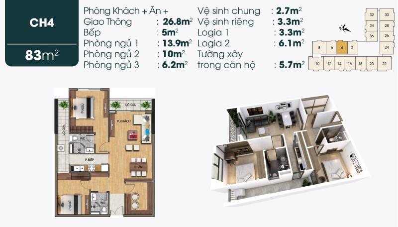 Bán đồng giá các tầng căn 84m2 2+1 phòng ngủ 2,1 tỉ tại 190 Sài Đồng