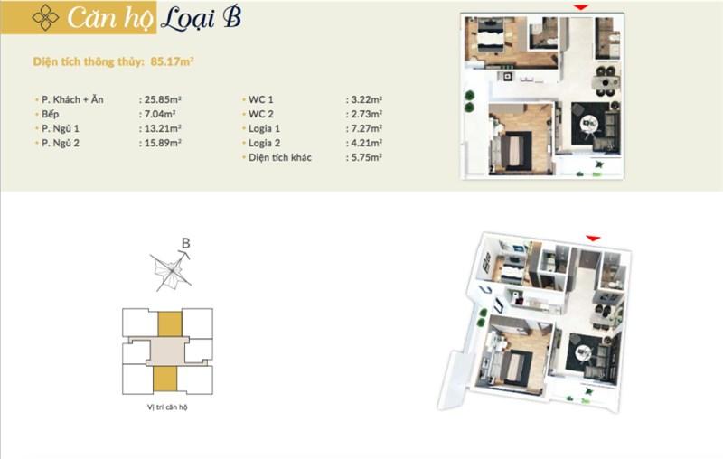 Bán căn hộ 86m2 2PN tại ngã tư Nguyễn Huy Tưởng – Lê Văn Thiêm