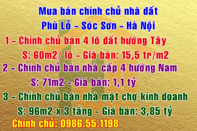Mua bán chính chủ nhà đất Phù Lỗ, Sóc Sơn, Hà Nội
