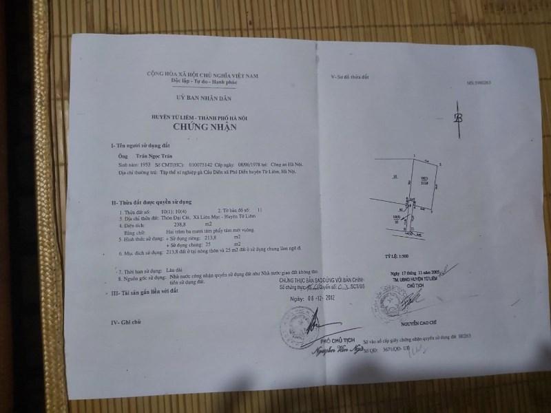 Chính chủ bán đất tại Đại Cát, Liên Mạc, Bắc Từ Liêm, Hà Nội.