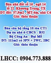 Bán nhà đất tại số 16 ngõ 14, tổ 22  Khương Trung, Thanh Xuân, Hà Nội