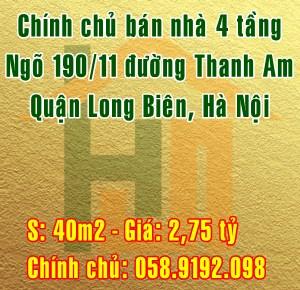 Bán nhà 4 tầng ngõ 190/11 đường Thanh Am, Quận Long Biên, Hà Nội