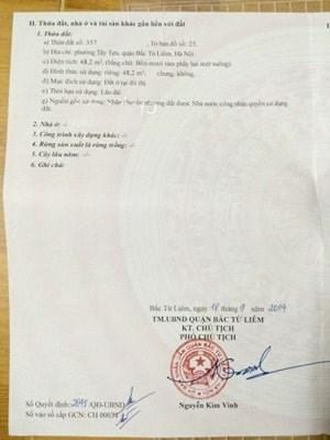 Bán đất chính chủ sổ đỏ tại Tây tựu, Bắc Từ Liêm, Hà Nội