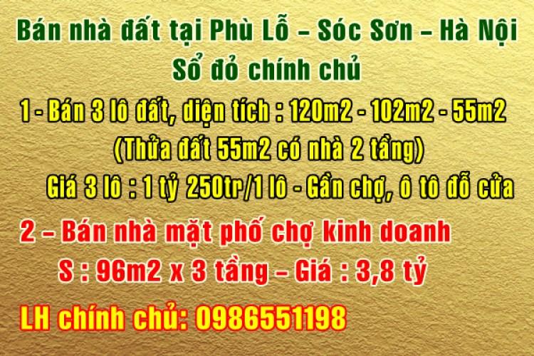 Bán nhà đất chính chủ tại Phù Lỗ, Sóc Sơn, Hà Nội