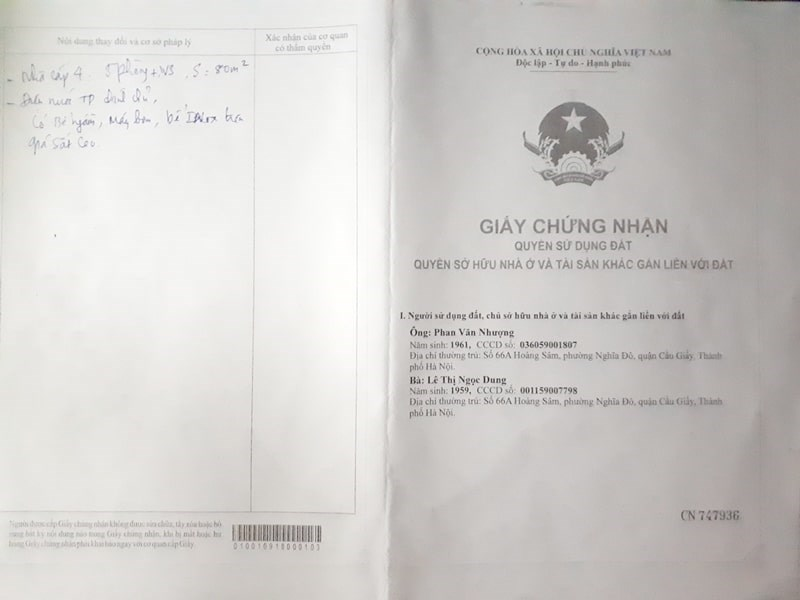 Bán nhà số 20 ngõ 66/10 phố Võng Thị, Quận Tây Hồ