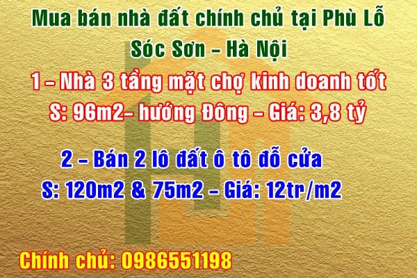 Mua bán nhà đất chính chủ Phù Lỗ, Sóc Sơn, Hà Nội