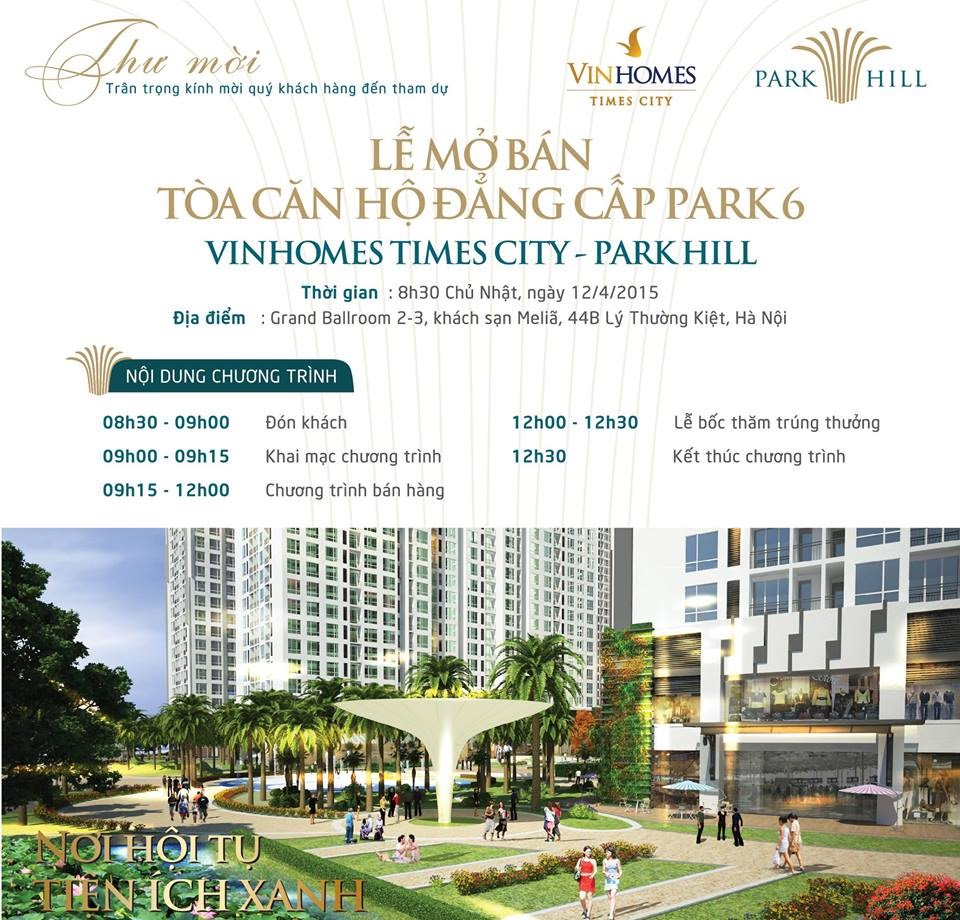 Lễ mở bán tòa Park 6 - Căn hộ chung cư Times City Park Hill
